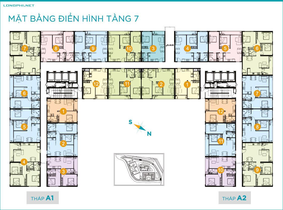 Mặt bằng căn hộ tầng 7 tháp A dự án Lavida Plus quận 7 - Quốc Cường Gia Lai.