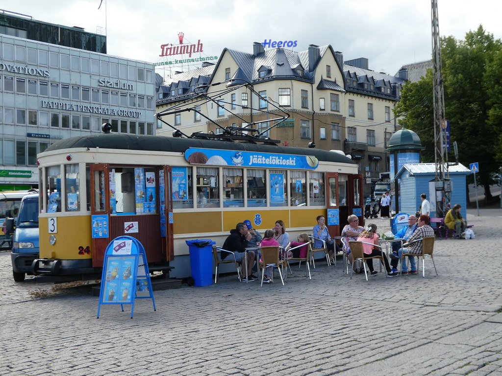 Cafe in an old tram in Turku market square