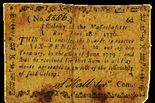 1776 Massachusetts 6 pence note