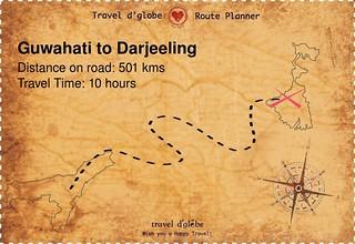Map from Guwahati to Darjeeling