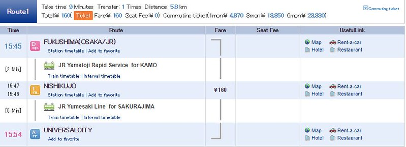 2 Hari Keliling Osaka - Rute Kereta 2