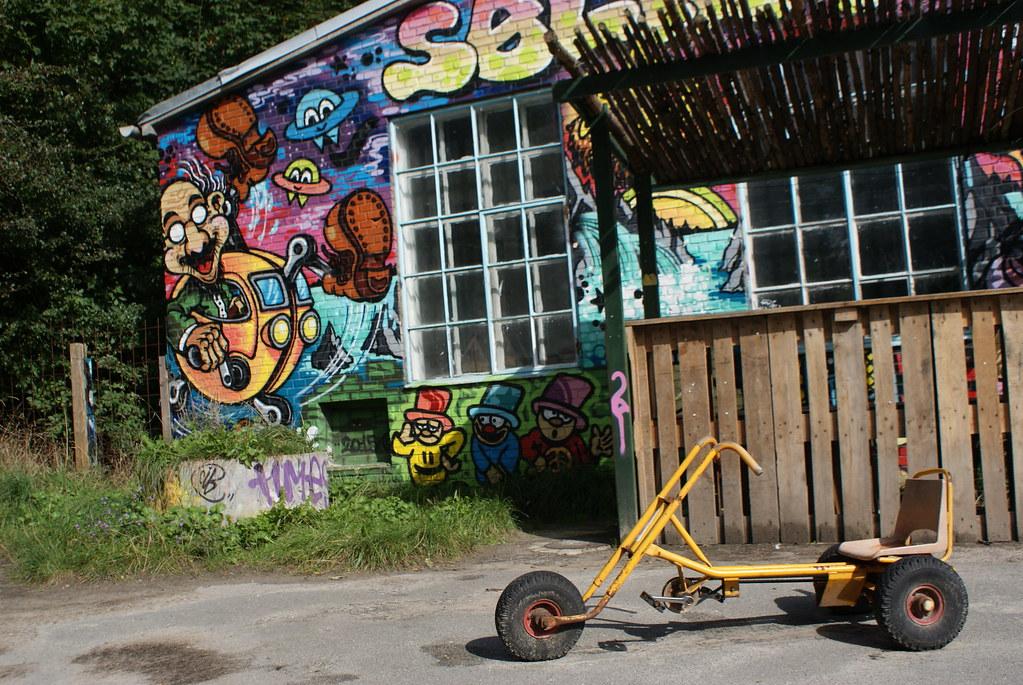 Street art dans le quartier de Christiania à Copenhague.