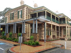 Adelaide. Stonyfell. Chiverton House in the rain. Built 1880 with modern steel veranda.  Now the centre of St Peters Girls Anglican College.