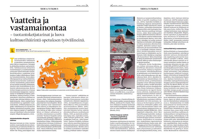 Kuva Vaatteita ja vastamainontaa -artikkelista Biologian ja maantieteen opettajien liiton Natura-lehdessä 1/2015.