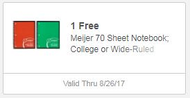 Free Meijer 70 Sheet Notebook