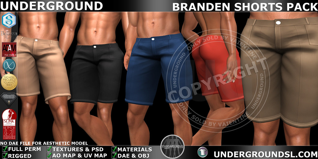 UG MESH BRANDEN SHORTS PACK MP - SecondLifeHub.com