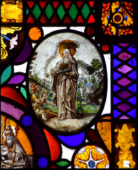 St Elizabeth of Hungary drops a coin in a beggar's bowl