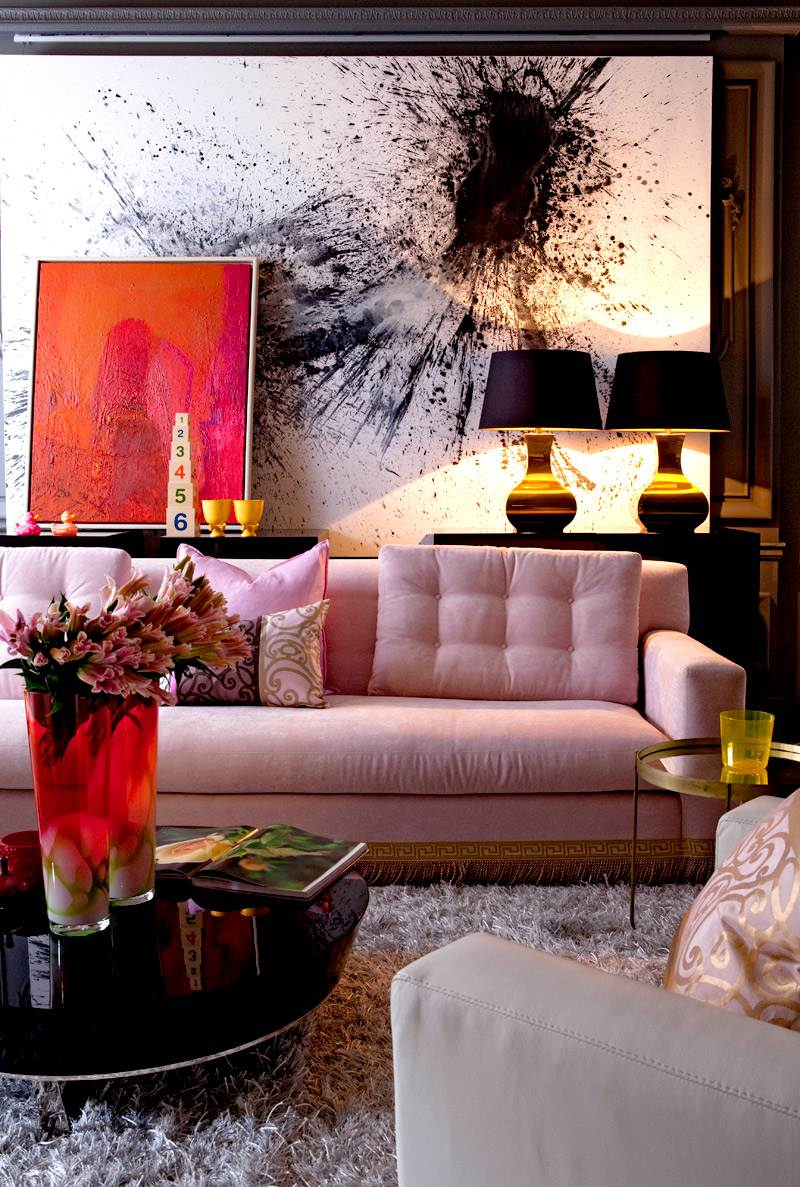 9 Sofas That Will Make You Rethink Your Neutral Decor | Pink Design Inspiration Blush Sofa Couch Black Art Work