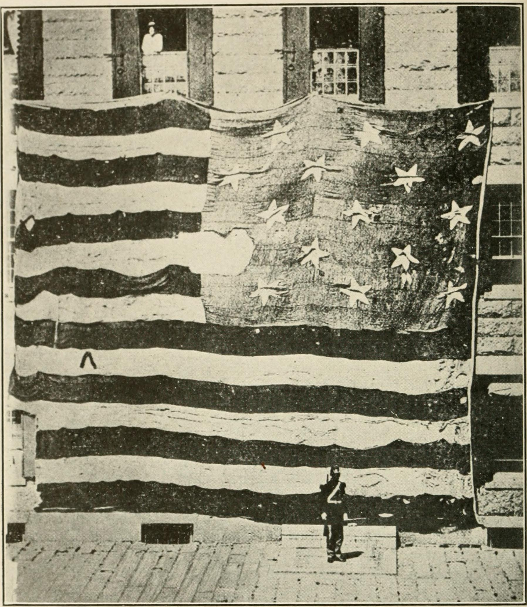 Flag that flew over Fort McHenry during its bombardment in 1814, which was witnessed by Francis Scott Key. The family of Major Armistead, the commander of the fort, kept the flag until they donated it to the Smithsonian in 1912.