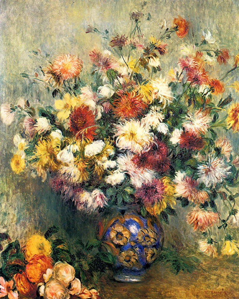 Vase of Chrysanthemums by Pierre Auguste Renoir, 1882