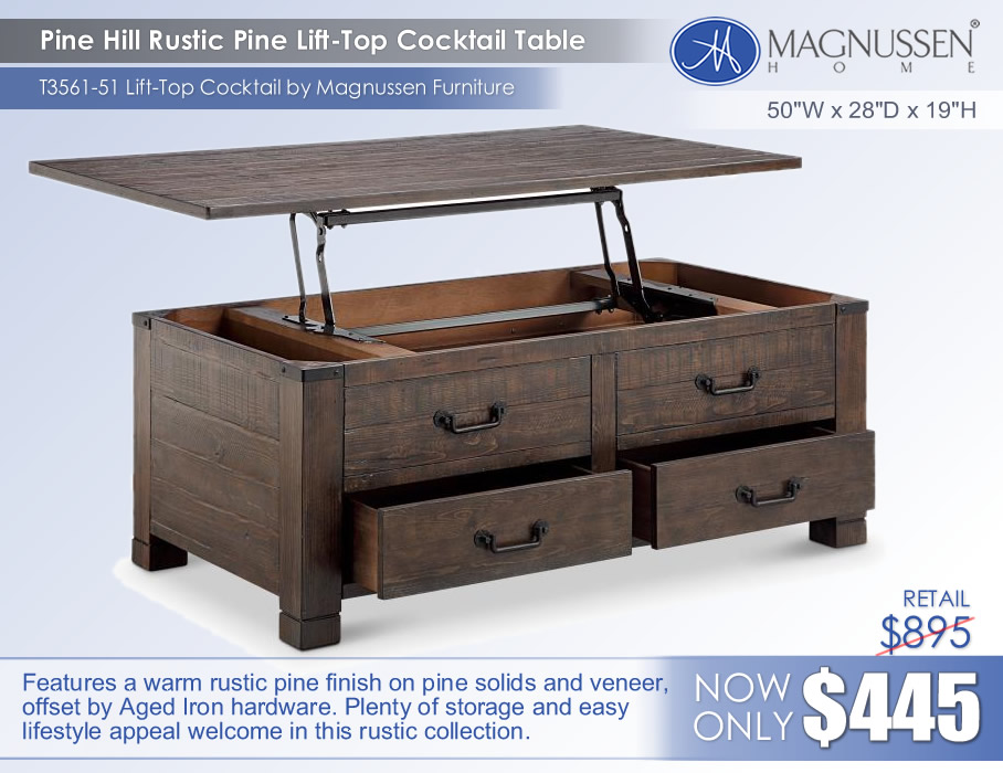 Pine Hill Lift Top Cocktail Table