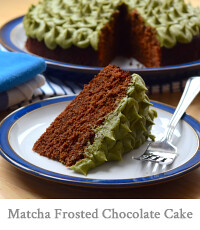 Chocolate Cake with Lazy Piped Matcha Frosting