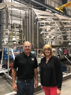 Rep. Luanne Van Werven gets a tour of All American Marine, a local manufacturing company.