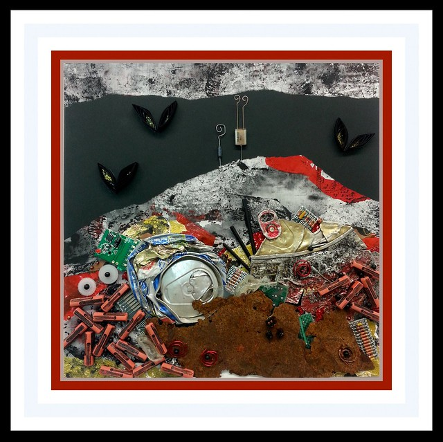 5YoshiiN_SpoilerAlertWaste- Mixed media collage with found objects