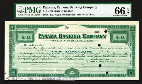 Panama. Panama Banking Company, 190x ca.1908, Specimen Circulating Certificate of Deposit