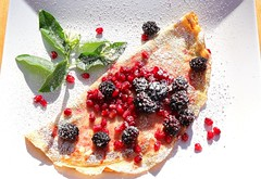 VANILLA CREPES WITH CARAMELIZED BLACKBERRIES & POMEGRANATE SEEDS