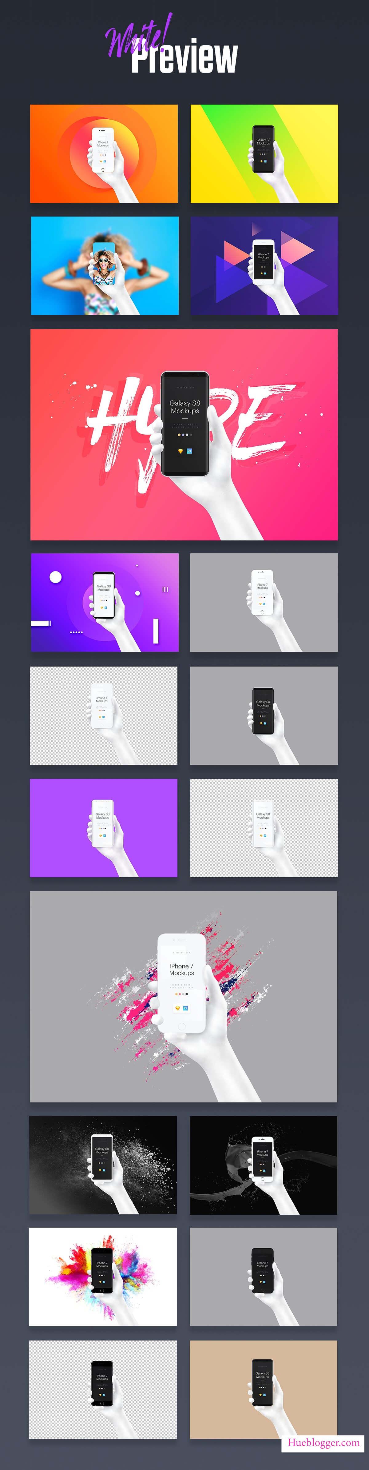 Mockup tay cầm điện thoại iPhone7 và Galaxy S8
