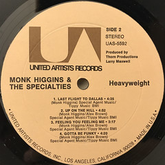 MONK HIGGINS & THE SPECIALITIES:HEAVYWEIGHT(LABEL SIDE-B)