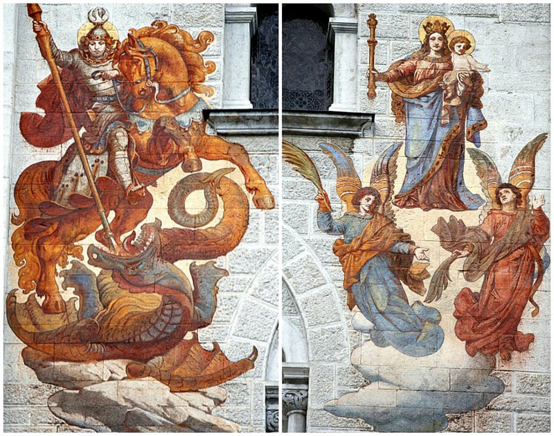 Detail of Frescos in Neuschwanstein Courtyard. Credit Hedwig Storch