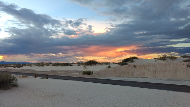 Always wanted to check out White Sands National Monument... beautiful and rare gypsum sand dunes. Worth the extra drive to get here!  #summer #roadtrip #travel #newmexico #whitesands #sunset #nps