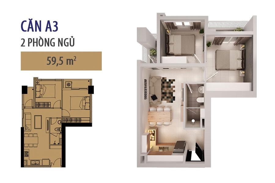 """Mẫu A3 - loại 59.5m2 - Tòa nhà cho thuê căn hộ SHP  <img src=""""images/"""" width="""""""" height="""""""" alt=""""Công ty Bất Động Sản Tanlong Land"""">"""