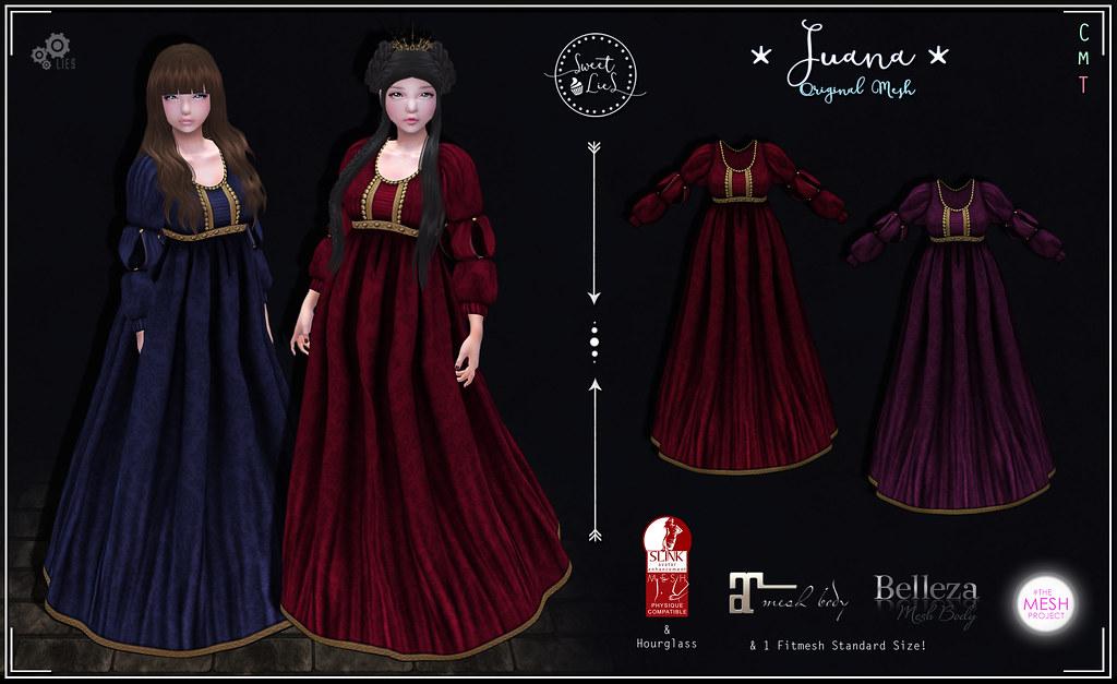 Juana Dress Red - Purple - Sweet Lies Original - SecondLifeHub.com