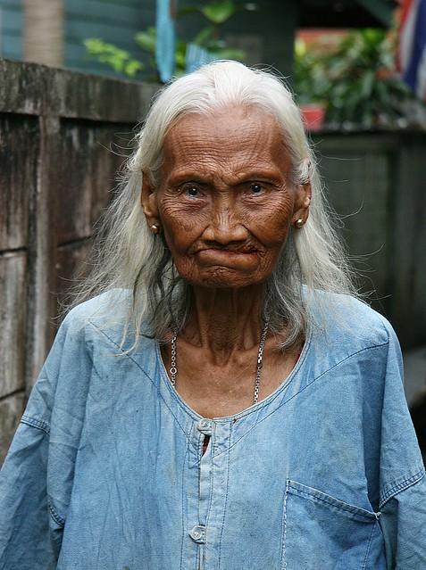 grandma in her faded work shirt