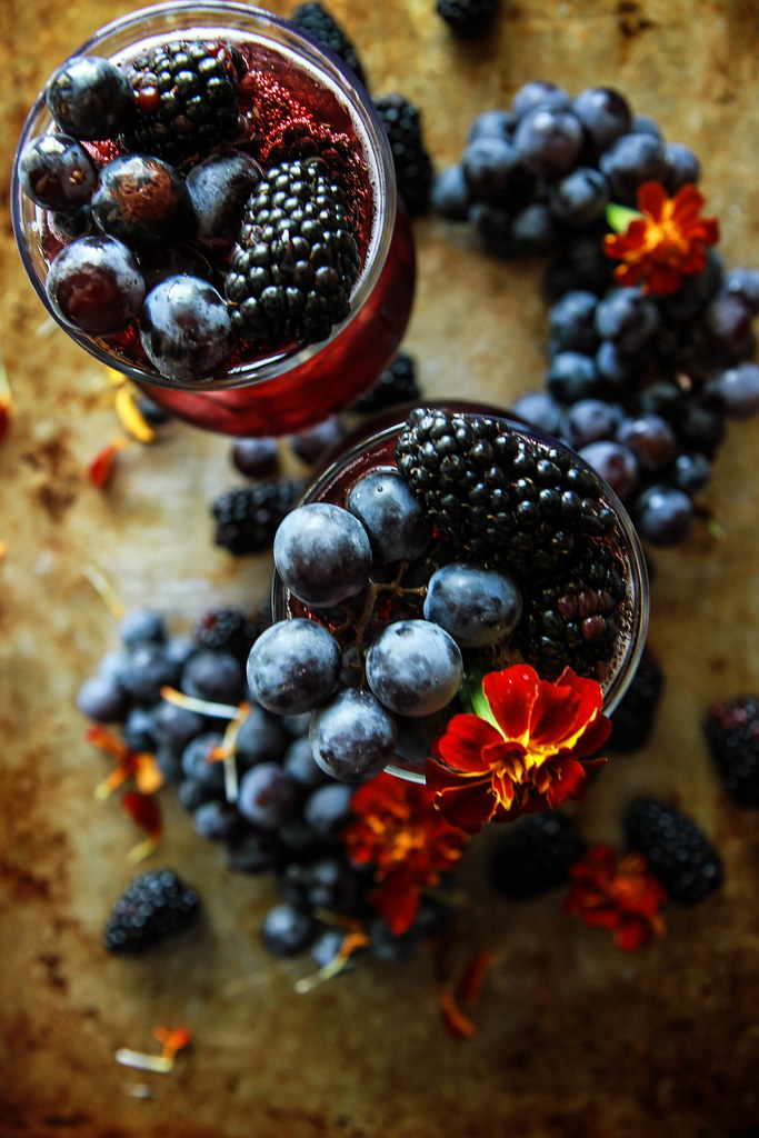 Concord Grape, Blackberry and Bourbon Fizz from HeatherChristo.com