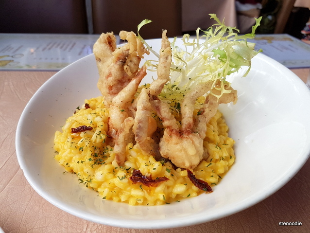 Deep Fried Soft Shell Crab with Pumpkin Risotto
