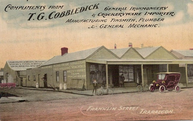 Advertising postcard from T.G. Cobbledick in Franklin Street, Traralgon, Victoria - early 1900s