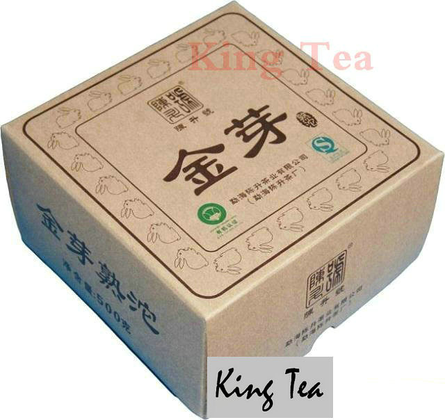 Free Shipping 2011 ChenSheng Golden Bud Tuo Bowl Nest 500g YunNan MengHai Organic Pu'er Ripe Tea Cooked Shou Cha Weight Loss Slim Beauty