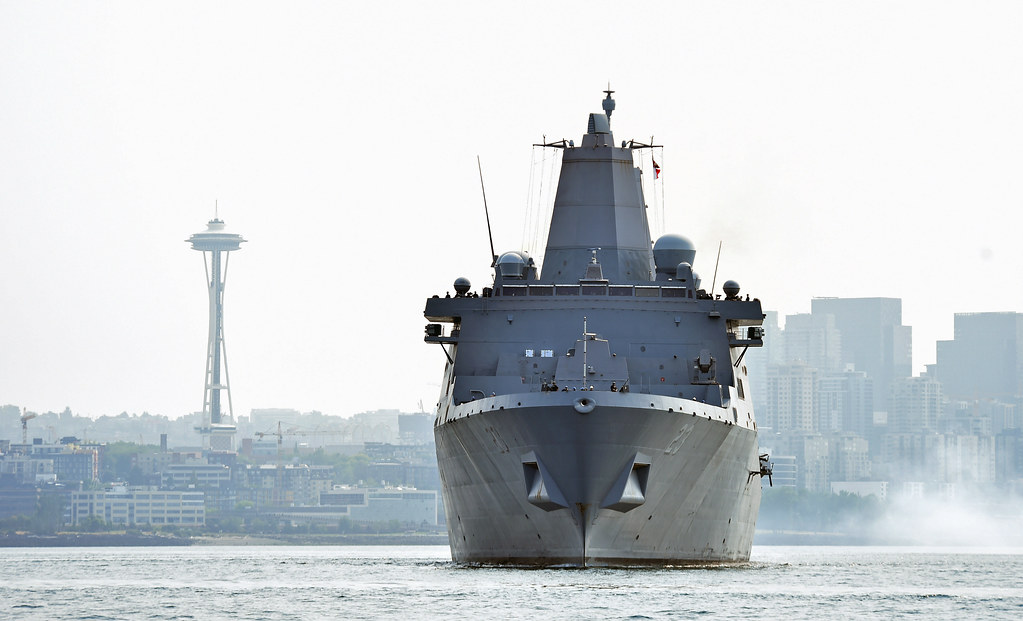 San Antonio-class amphibious transport dock USS Anchorage (LPD 23) and Arleigh Burke-class destroyer USS Michael Murphy (DDG 112) departed the Port of Seattle Aug. 7, bringing the 68th annual Seafair Fleet Week to a close.