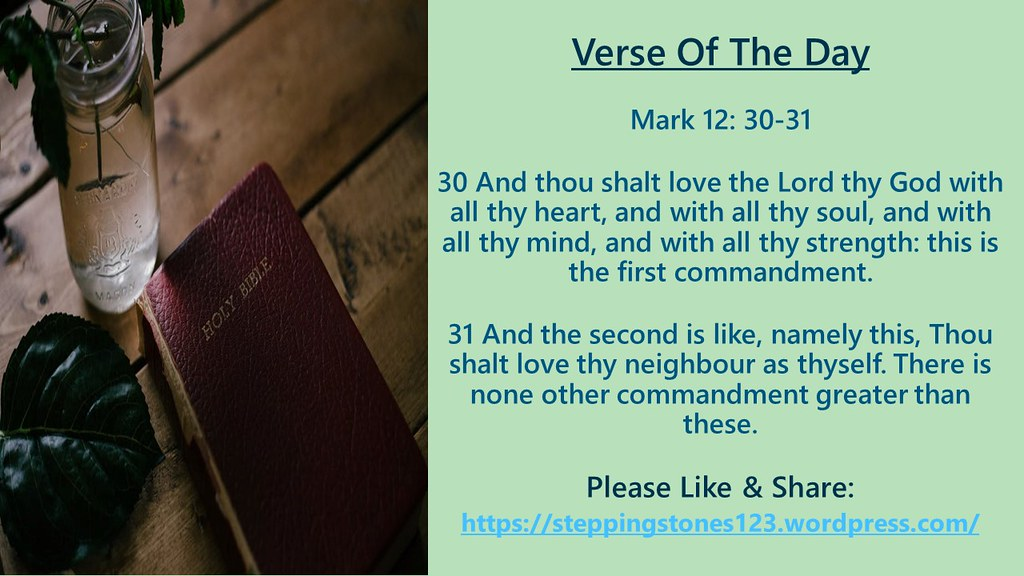 Verse Of The Day Template for My Blog Mark 12 and 30 and 31