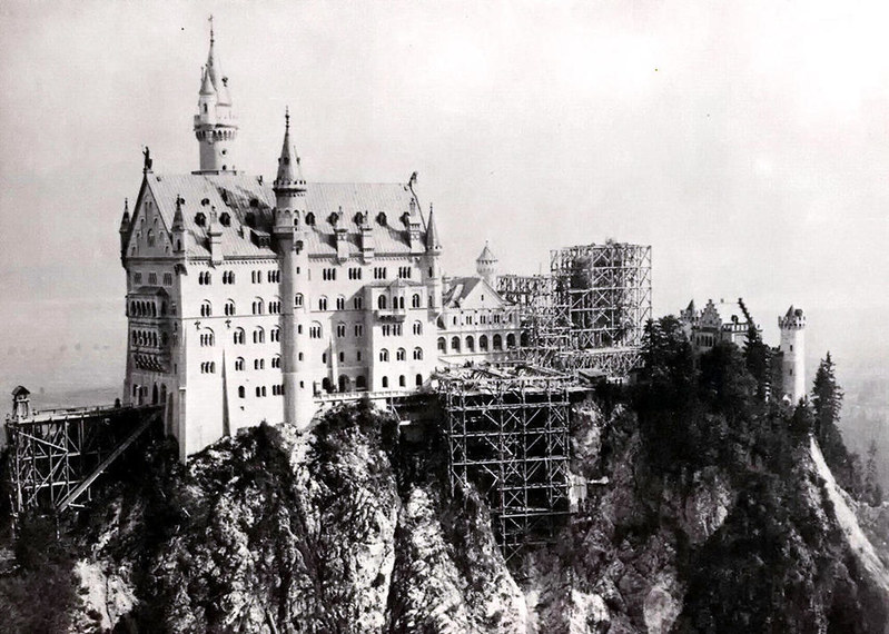 Neuschwanstein Castle during construction, 1882