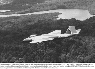 1964 RNZAF Canberra NZ6105 on a bombing run over Limbang, Sabah, northern Sarawak