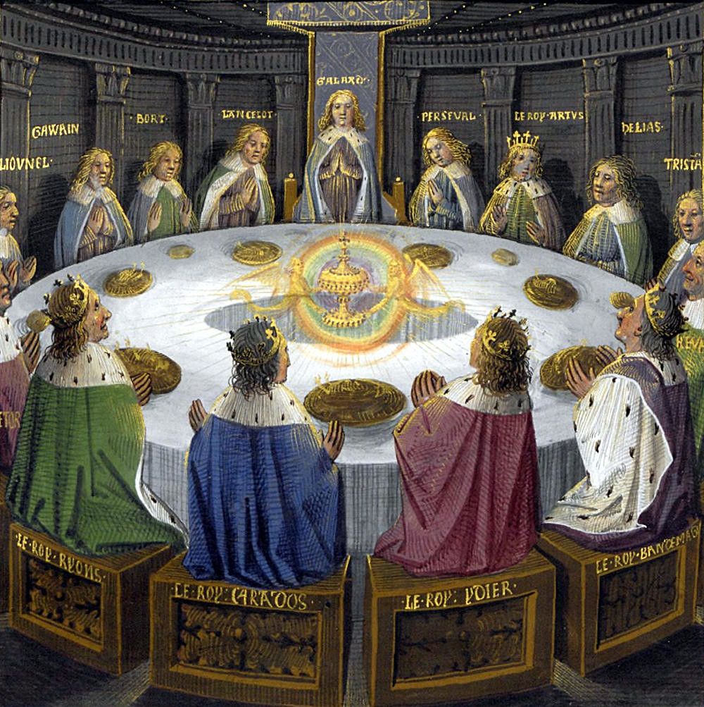 The Round Table experiences a vision of the Holy Grail by Évrard d'Espinques, 1475