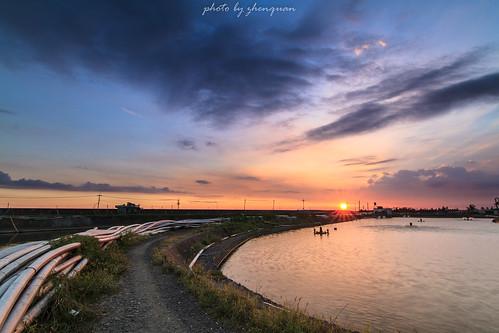 家鄉-魚塭夕陽