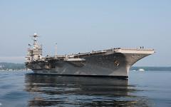 USS John C. Stennis (CVN 74) transits Puget Sound after getting underway for sea trials, Aug. 11. (U.S. Navy/MC3 Dakota Rayburn)