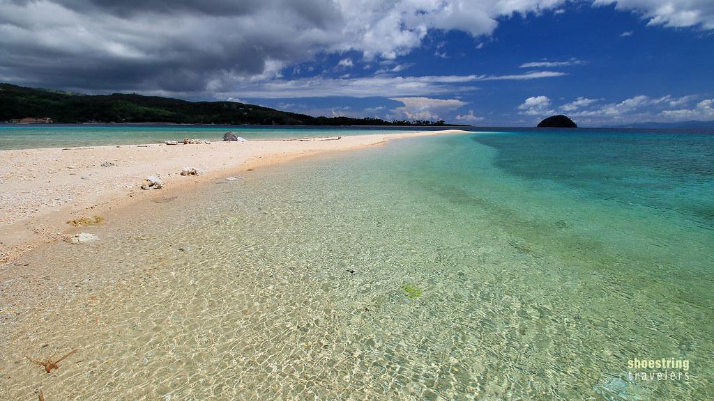 Logbon Island's sandbar with Bonbon Beach in the background