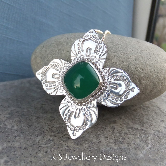 Green Chalcedony Hand Stamped Sterling Silver Flower Pendant