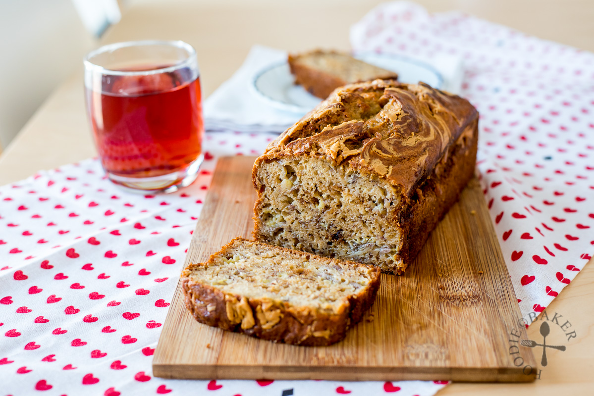 Banana Loaf / Bread / Cake with Peanut Butter Swirl