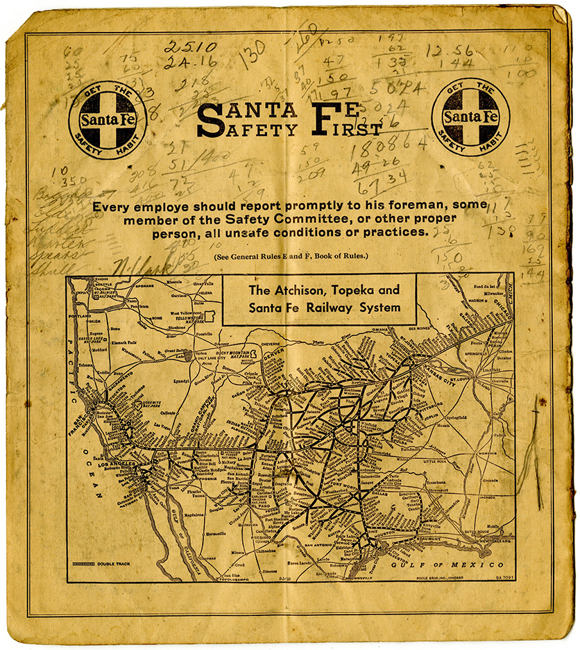 Santa Fe Railroad Route Map, undated