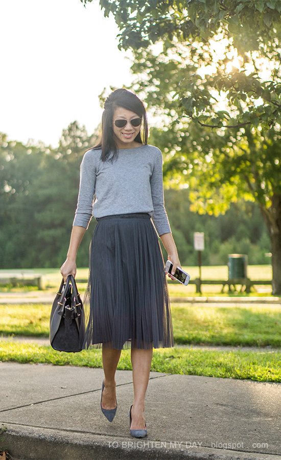 light gray button back sweater, dark gray tulle midi skirt, gray suede pumps, gray tote