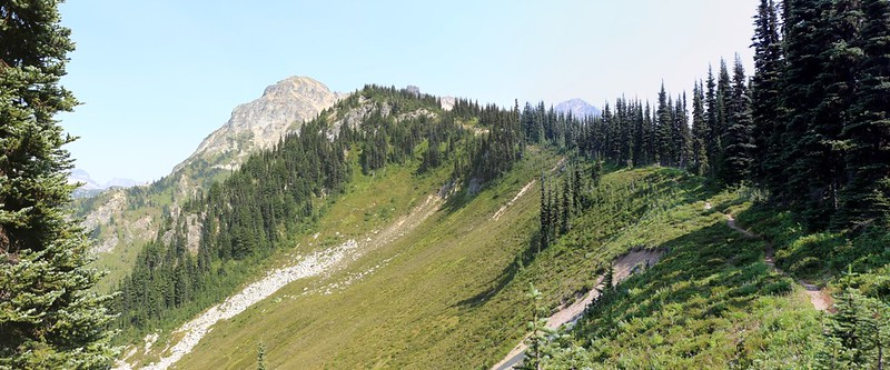 The old goat herder's trail on Middle Ridge, with Peak 8297 and Fortress Mountain in the distance