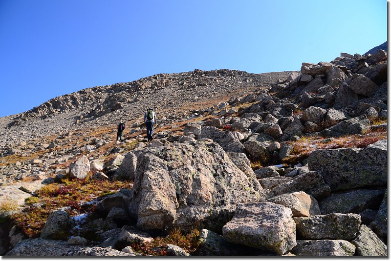 Looking up at the final slope to the shoulder below the summit of Yale