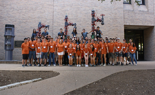 The UT PGE Class of 2021 participated in the First-year Fall Retreat to shake hands with industry representatives and gain advice on how to succeed as a student and petroleum engineer