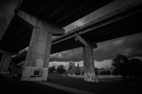 bridge bw monochrome photography thunder gray manchester river concrete shelter rain clouds downtown weather lines architecture blackwhitephotos columns nikon d5100 tokina longexposure heavy structure notredame landscape urban city life