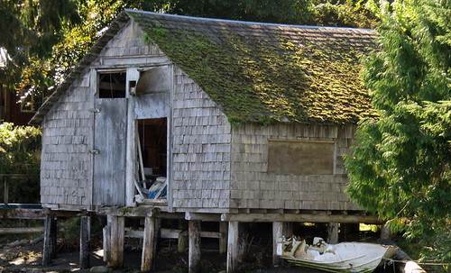 Old shingled boathouse in Ucluelet