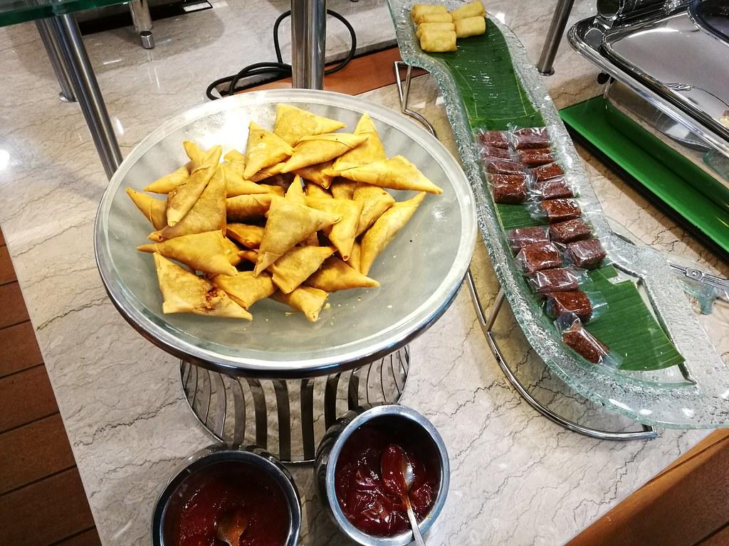Samosas and Indonesian cakes