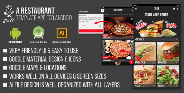 Deli – Restaurant UI Template App for Android